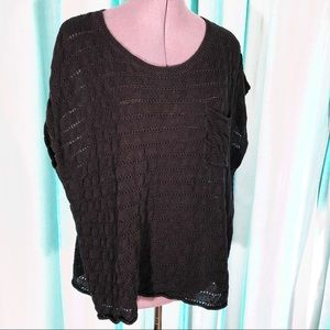 Brochu Walker Black Linen Knit Sweater M (8-10)